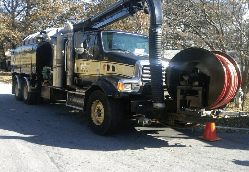 Truck preparing for sewer cleaning