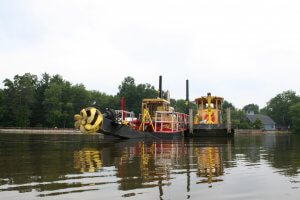 hydraulic dredging on a lake