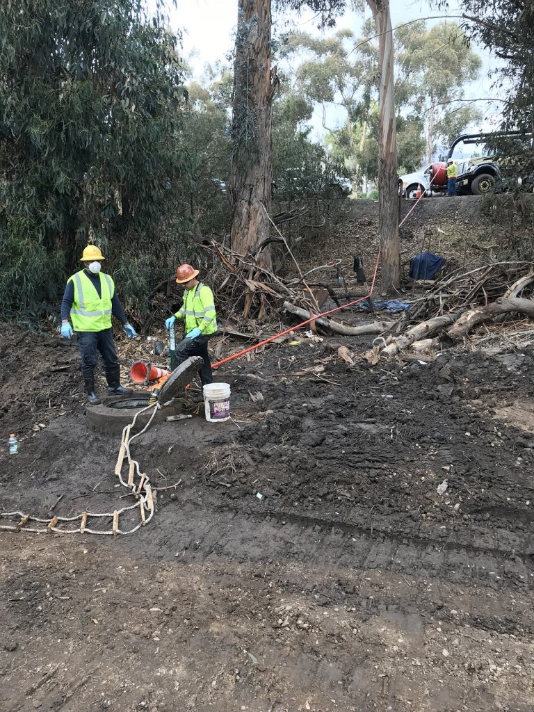 Crew working in Montecito during mudslide cleanup